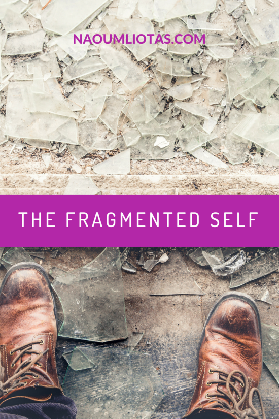 Broken glass and a person stepping on it as a representation of the fragmented self