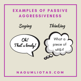 Saying one thing and thinking another as an example of passive aggressiveness